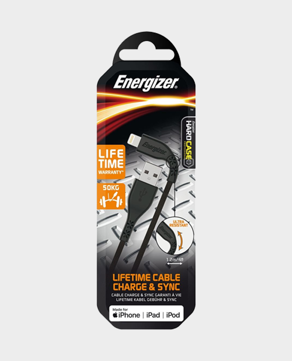 Energizer Lifetime Cable Charge & Sync Lightning to USB Cable 1.2M Black in Qatar