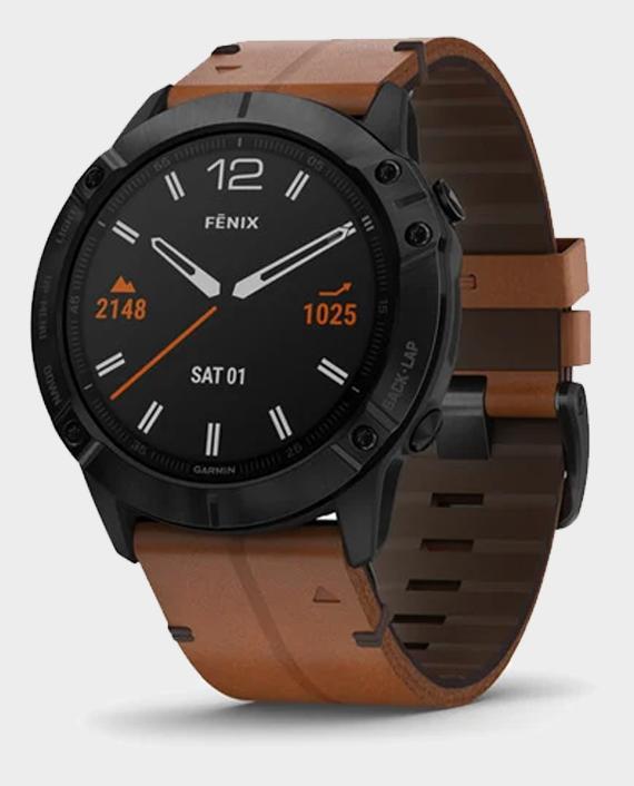 Garmin 010-02157-14 Fenix 6X Sapphire Smart Watch Black DLC with Chestnut Leather Band in Qatar