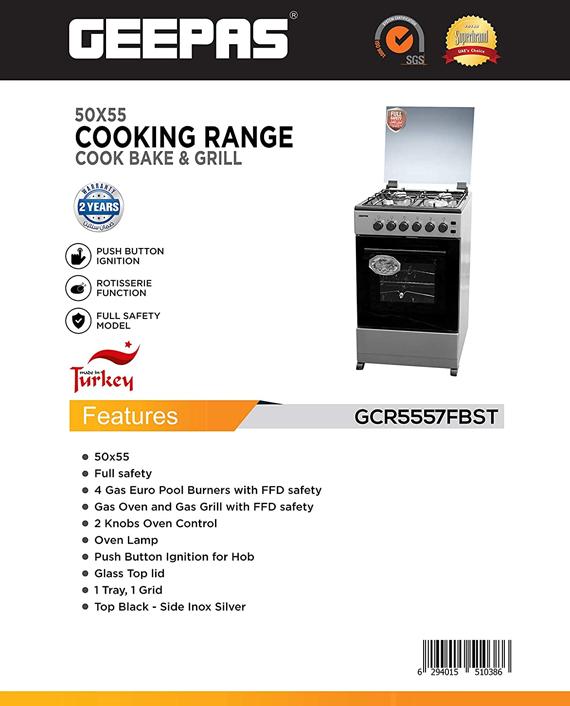Geepas GCR5557FBST Free Standing Cooking Range