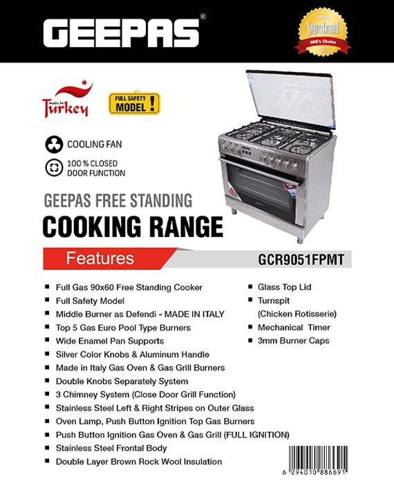 Geepas GCR9051 90x60 cm Ceramic Plate Free Standing Cooking Range