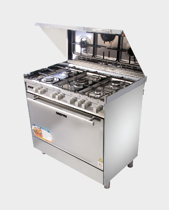 Geepas GCR9060NPSRC 5 Burner Freestanding Gas Cooking Range with Grill in Qatar