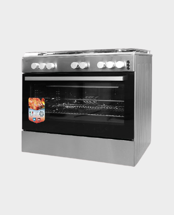Geepas GCR9067FTST 5 Burner Freestanding Full Safety Gas Cooking Range with Cooling Fan in Qatar