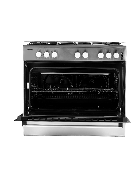 Geepas GCR9067FTST 5 Burner Freestanding Full Safety Gas Cooking Range with Cooling Fan