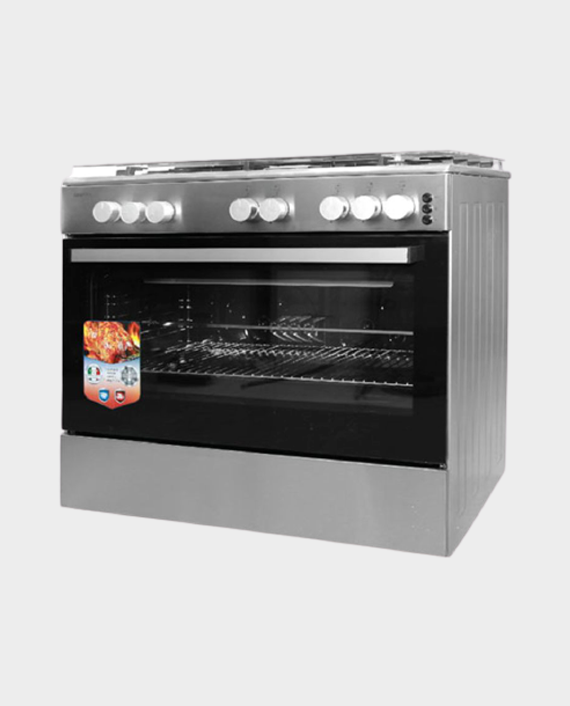 Geepas GCR9077FTCST 5 Burner Freestanding Full Safety Gas Cooking Range with Cooling Fan in Qatar