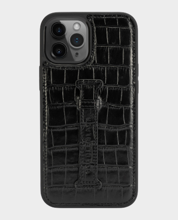 Gold Black iPhone 12 Pro Max Finger Holder Case Croco Black in Qatar