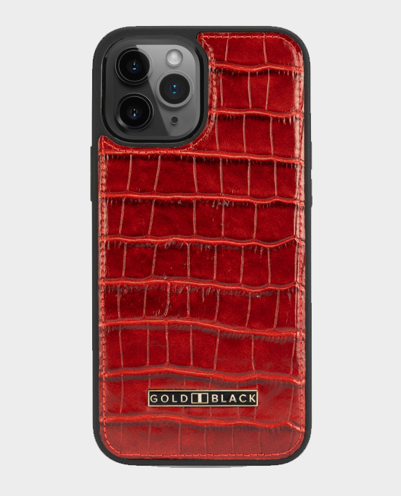 Gold Black iPhone 12 Pro Max Slim Case Croco Red in Qatar