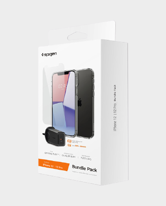 Spigen Bundle Pack Iphone 12, Iphone12 Pro (Crystal Flex Case, Glas Tr Slim Tempered Glass, F210 UK Wall Charger) in Qatar