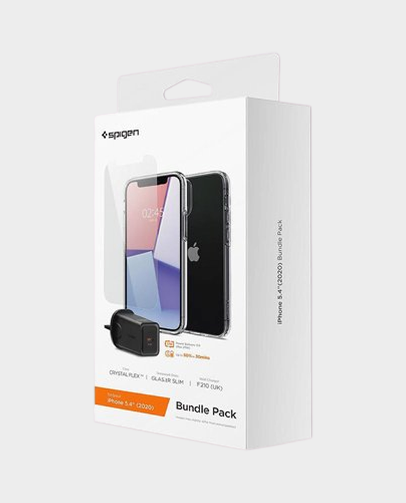 Spigen Bundle Pack iPhone 12 Mini (Crystal Flex Case, Glas Tr Slim Tempered Glass, F210 UK Wall Charger ) in Qatar