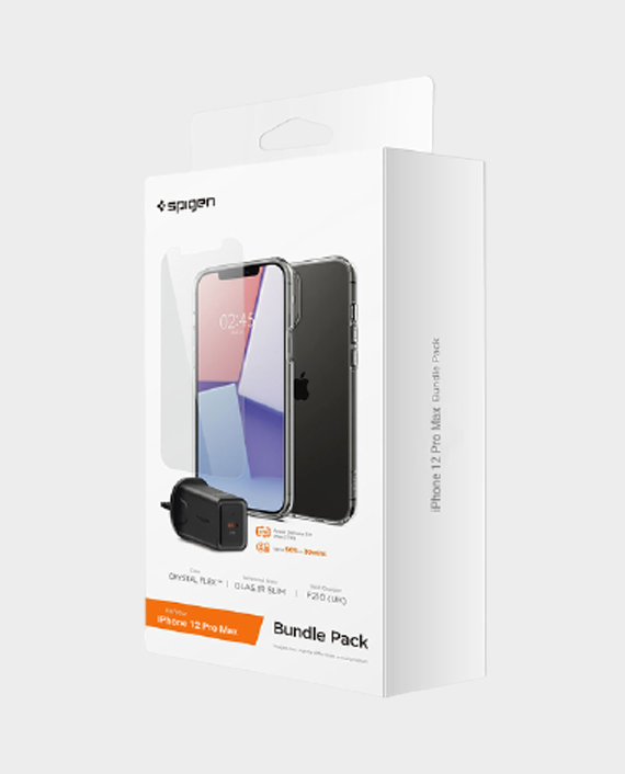 Spigen Bundle Pack iPhone 12 Pro Max (Crystal Flex Case, Glas Tr Slim Tempered Glass, F210 UK Wall Charger) in Qatar
