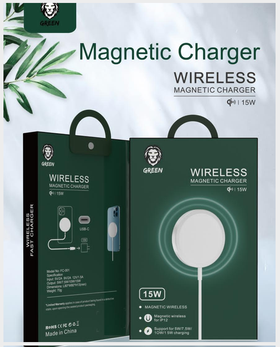 Green iPhone 12 Wireless Magnetic Charger 15W in Qatar