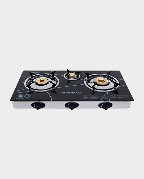 Olsenmark OMK2197 Stainless Steel 3 Burner Gas Stove with Tempered Glass in Qatar