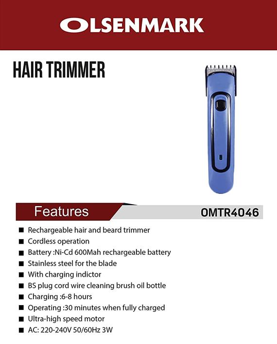 Olsenmark OMTR4046 Rechargeable Hair Trimmer