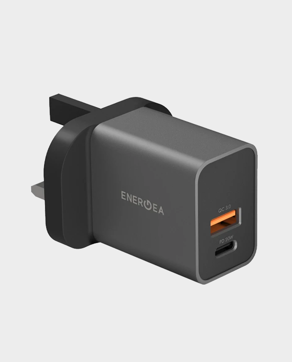 Energea AmpCharge PD20+ PD USB-C + QC USB-A Port Wall Charger 20W (UK) in Qatar