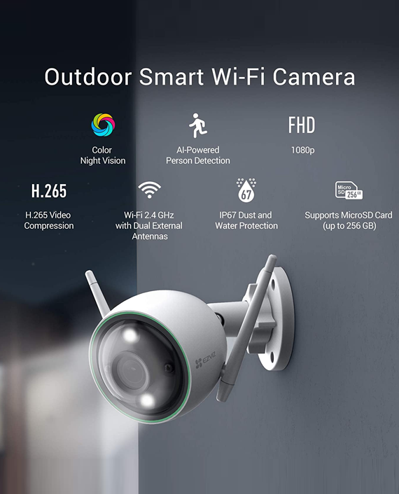 Ezviz CS-C3N-A0-3H2WFRL 2.8mm Night Vision Outdoor Smart Wi-FI Camera