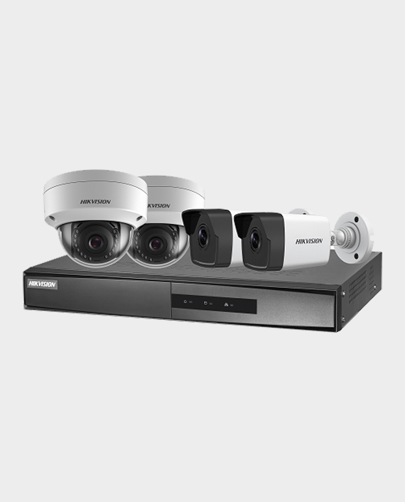 Hikvision NK42E3H 2 X 2MP Dome Camera 2.8mm + 2 X 2MP Bullet Camera 2.8mm + 1 X 4-ch PoE NVR in Qatar