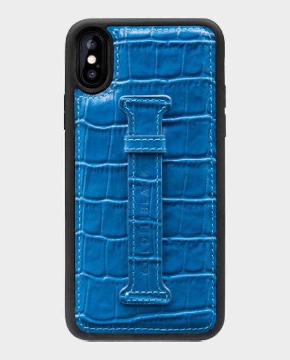 Gold Black iPhone XS Finger Holder Case Croco Blue in Qatar