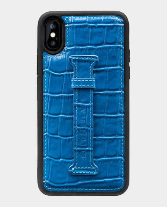 Gold Black iPhone XS Max Finger Holder Case Croco Blue in Qatar