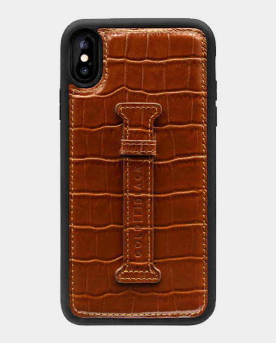 Gold Black iPhone Xs Max Finger Holder Case Croco Brown in Qatar