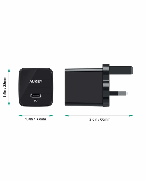 Aukey PA-Y18 18W Power Delivery Wall Charger Black