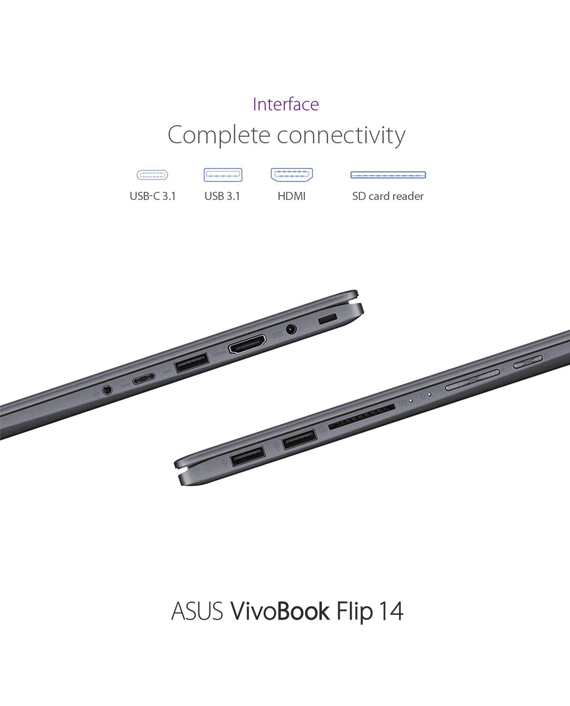 Asus Vivobook Flip TP412FA-EC721T i3-10110U 8GB Ram 512GB SSD Intel HD Graphics 14 Inch FHD Touch Screen Windows 10