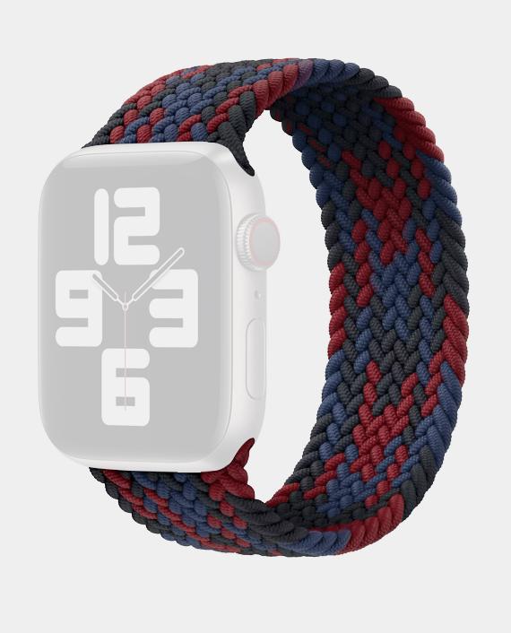 Wiwu Braided Stretchy Solo Loop Band For Apple Watch Series 42/44 Mm (M:142mm) - Black+Red+Dark Blue in Qatar