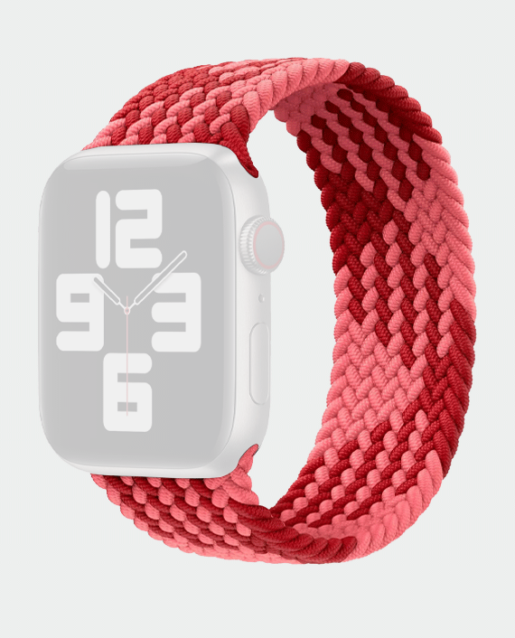 Wiwu Braided Stretchy Solo Loop Band For Apple Watch Series 42/44 Mm (M:142mm) - Pink+Red