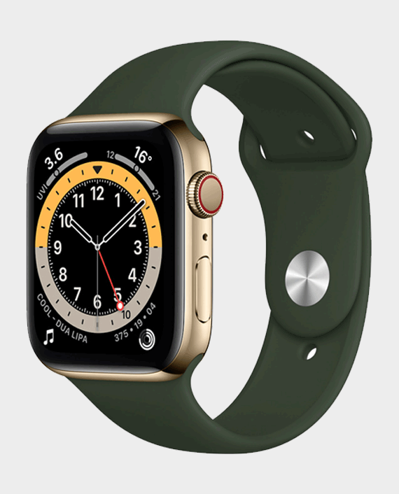 Apple Watch Series 6 M09F3AE/A 44mm GPS + Cellular Gold Stainless Steel Case with Cyprus Green Sport Band in Qatar