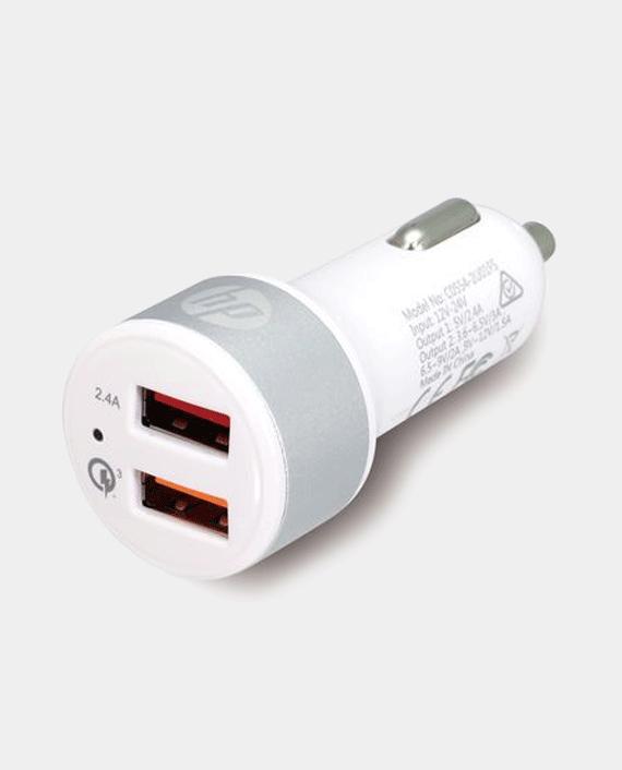 HP USB 2.4A Port + QC3.0 Port Car Charger Silver in Qatar