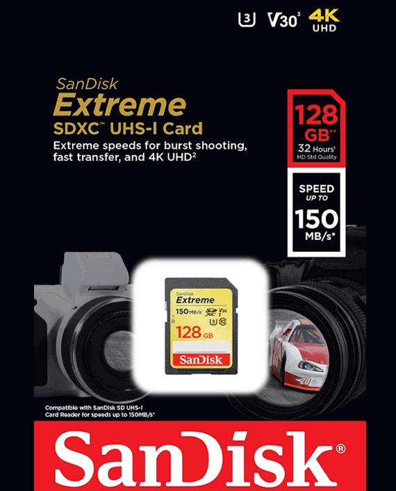 Sandisk Extreme SDXC UHS-I Card 128GB