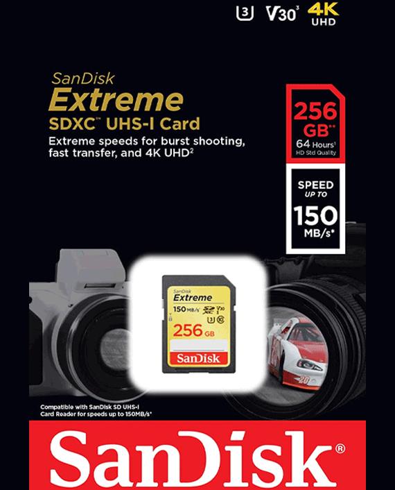 Sandisk Extreme SDXC UHS-I Card 256GB