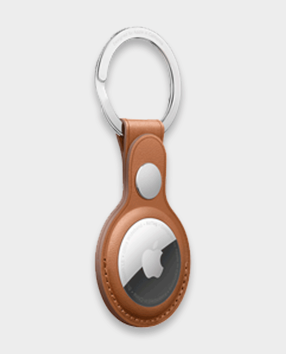 Apple AirTag Leather Key Ring Saddle Brown
