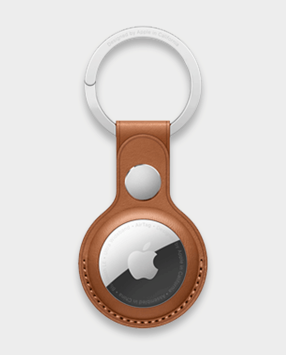 Apple AirTag Leather Key Ring Saddle Brown in Qatar