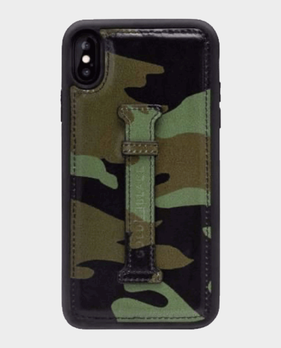 Gold Black iPhone Xs Finger Holder Case Camouflage Green in Qatar