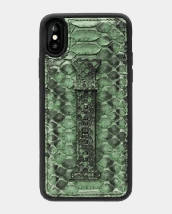 Gold Black Exotic Iphone Xs Case With Fingerholder Python Green in Qatar