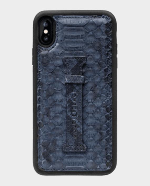 Gold Black Exotic iPhone Xs Max Finger Holder Case Python Navy Blue in Qatar