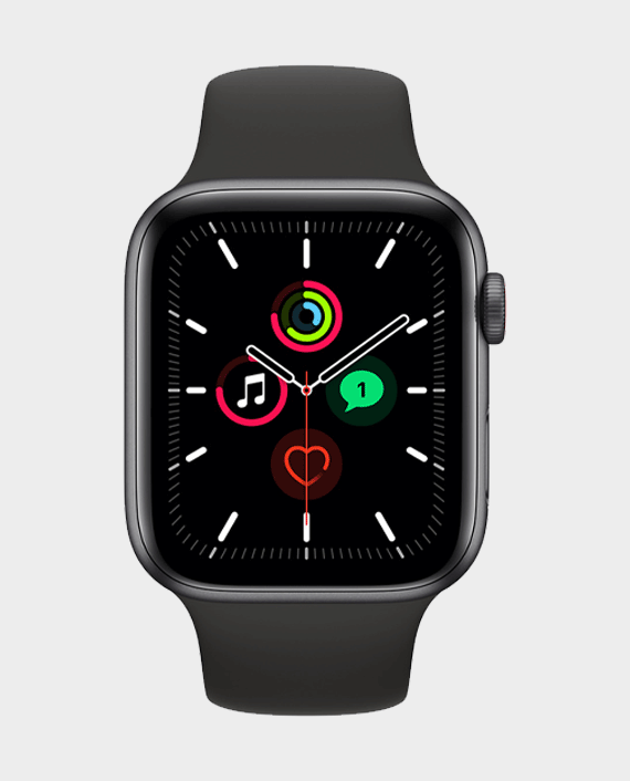 Apple Watch SE MYF02 GPS + Cellular 44mm - Space Gray Aluminum Case With Black Sport Band in Qatar