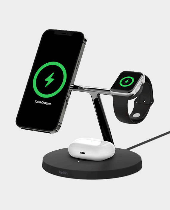 Belkin Boost Up Charge Pro 3-in-1 Wireless Charger with MagSafe Black in Qatar