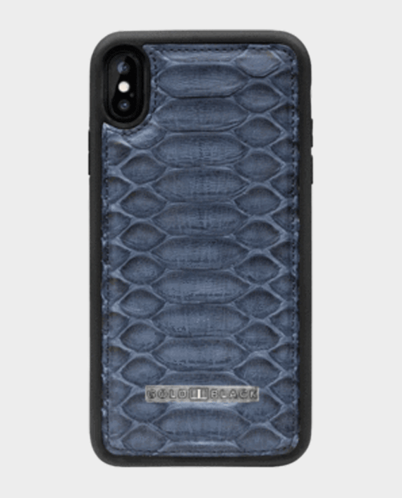 Gold Black Exotic iPhone XS Max Case Python Navy Blue in Qatar