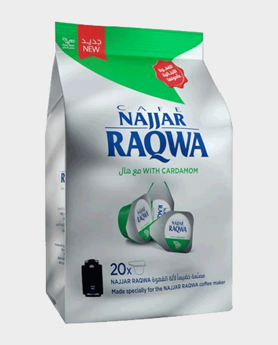 Najjar Raqwa Bag Single Cup with Cardamom Bag 20 pcs in Qatar