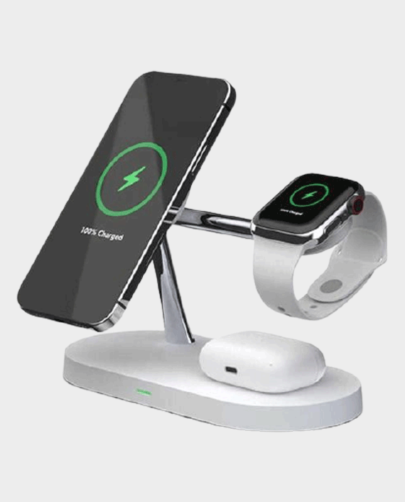 5 in 1 Magnetic Fast Wireless Charger 15 W White in Qatar