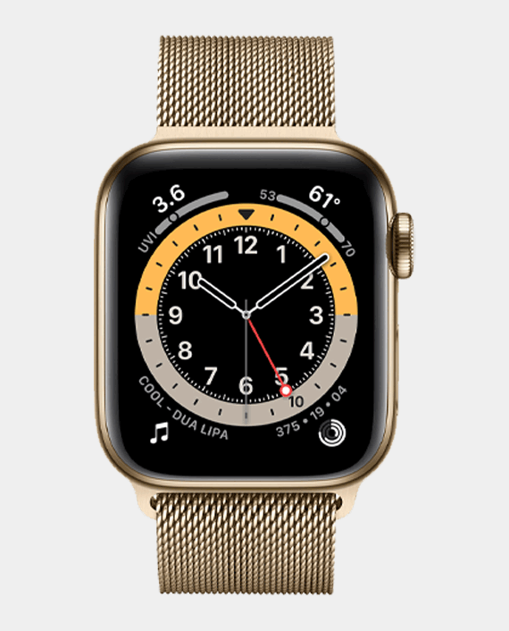 Apple Watch Series 6 M06W3 40mm GPS Cellular Gold Stainless Steel Case with Gold Milanese Loop in Qatar