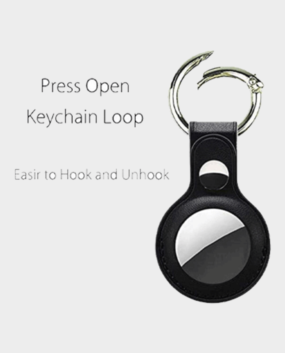 Devia Leather Key Ring for Apple AirTag - Black