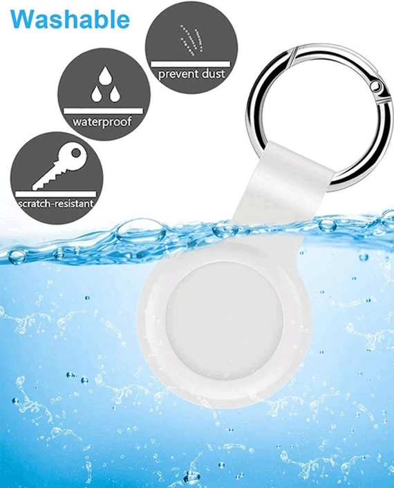 Devia Silicone Case With Key Ring For AirTag White