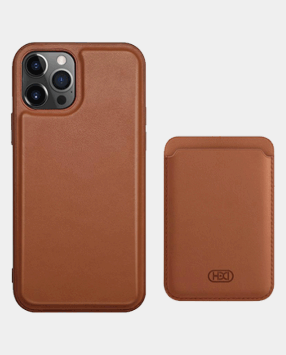 Heci iPhone 12 Pro Max HDD 360 Protection Luxury Case with Card Holder Brown in Qatar