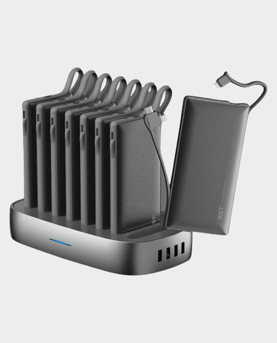 WST 10000 mAh 8 in 1 Powerbank Station with Built-in Cable in Qatar