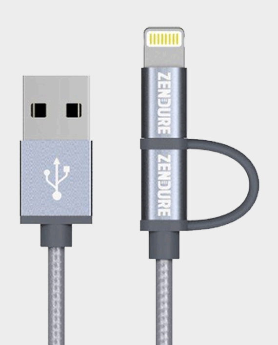 Zendure Braided Aluminum Charge / Sync 2 in 1 (Micro USB + Lightning) Cable 30cm - Grey in Qatar