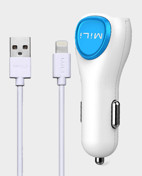 MiLi Power Smart Dual Car Charger with Lightning Cable White in Qatar