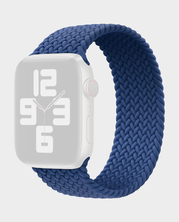 Green Braided Solo Loop Strap for Apple Watch 44mm Blue in Qatar