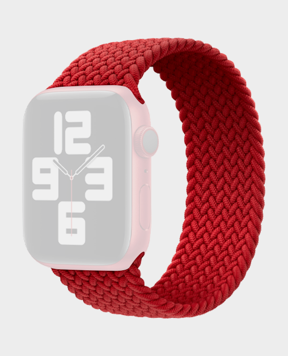 Green Braided Solo Loop Strap for Apple Watch 44mm Red in Qatar