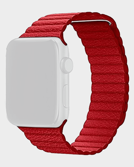 IGuard by Porodo Leather Watch Band for Apple Watch 44/42mm Red in Qatar